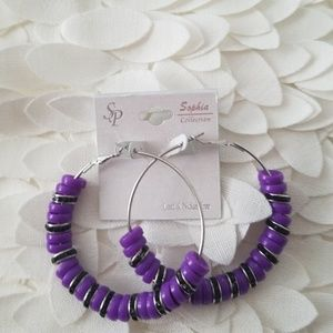 Jewelry - GORGEOUS PURPLE HOOPS NEW SOPHIA COLLECTION